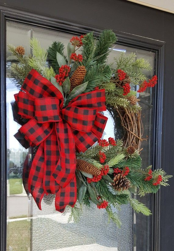 Photo of Winter holiday wreath with red and black Buffalo Check Bow berries and pine cones, Grapevine Red Peonies, farmhouse and rustic Christmas