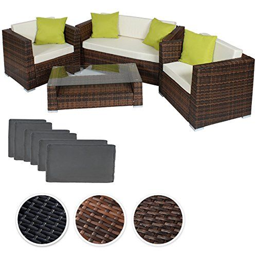 Garden Furniture Sofa Sets tectake luxury rattan aluminium garden furniture sofa set outdoor