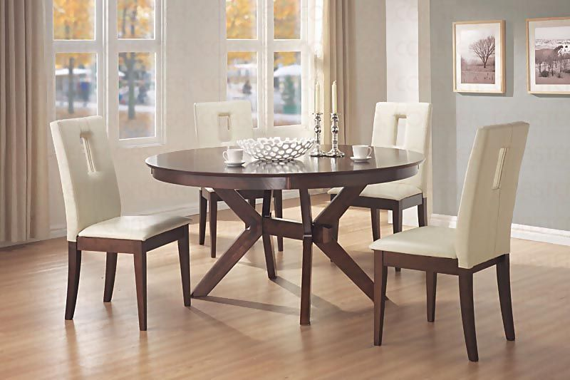 Contemporary Round Dining Room Tables Interesting Distress Walnut Round Dining Room Set  Casual Dinette Sets Design Decoration