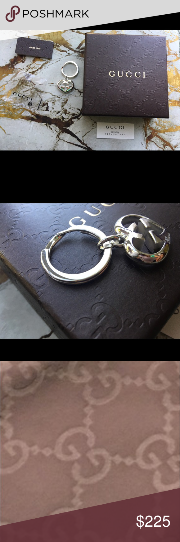 f52f2d61959be GUCCI – Sterling Silver Love Britt Key Ring. 100% Authentic