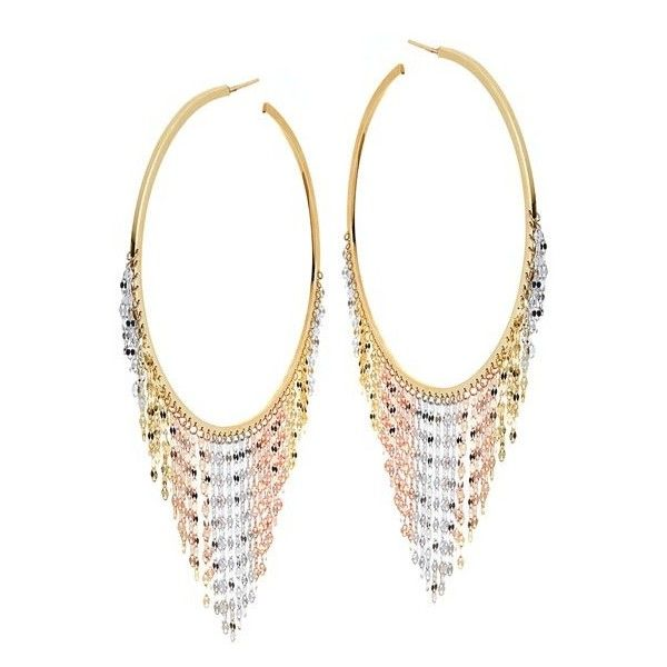 Lana TriGold Large Fringe Hoop Earrings 2440 liked on