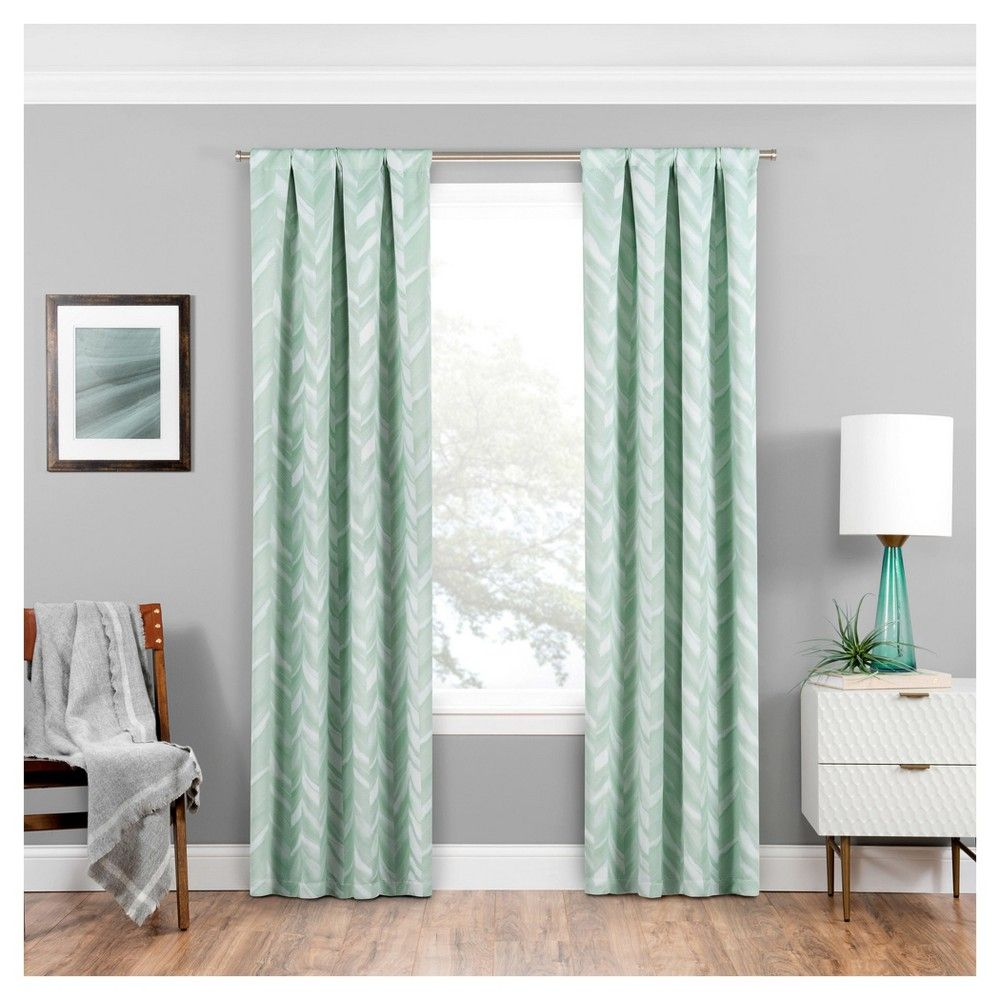 Haley Thermaweave Blackout Curtain Panel Mint 37 X95 Eclipse