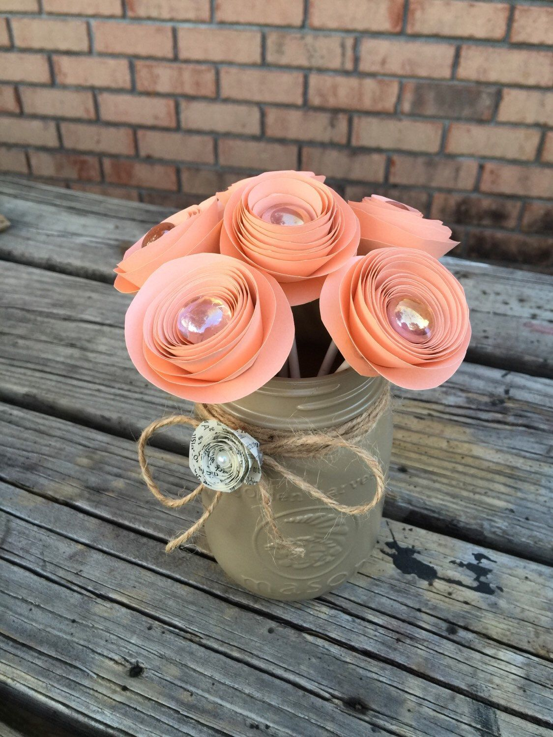 paper flower mason jar arrangement centerpiece peach tan by thecheerfuldreamer on etsy httpswwwetsycomlisting269905731paper flower mason jar