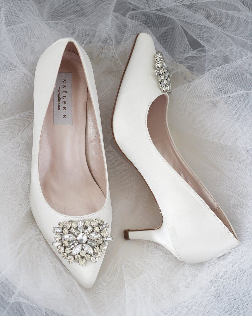 Off White Satin Kitten Heel With Oversized Brooch Bridesmaid