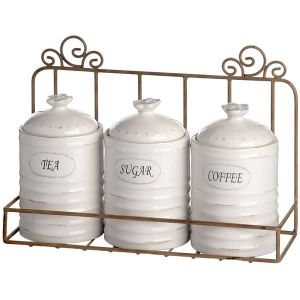 Shabby Chic Tea Coffee Sugar Canisters With Stand I Like This Since It Keeps Them Up Off The Counters