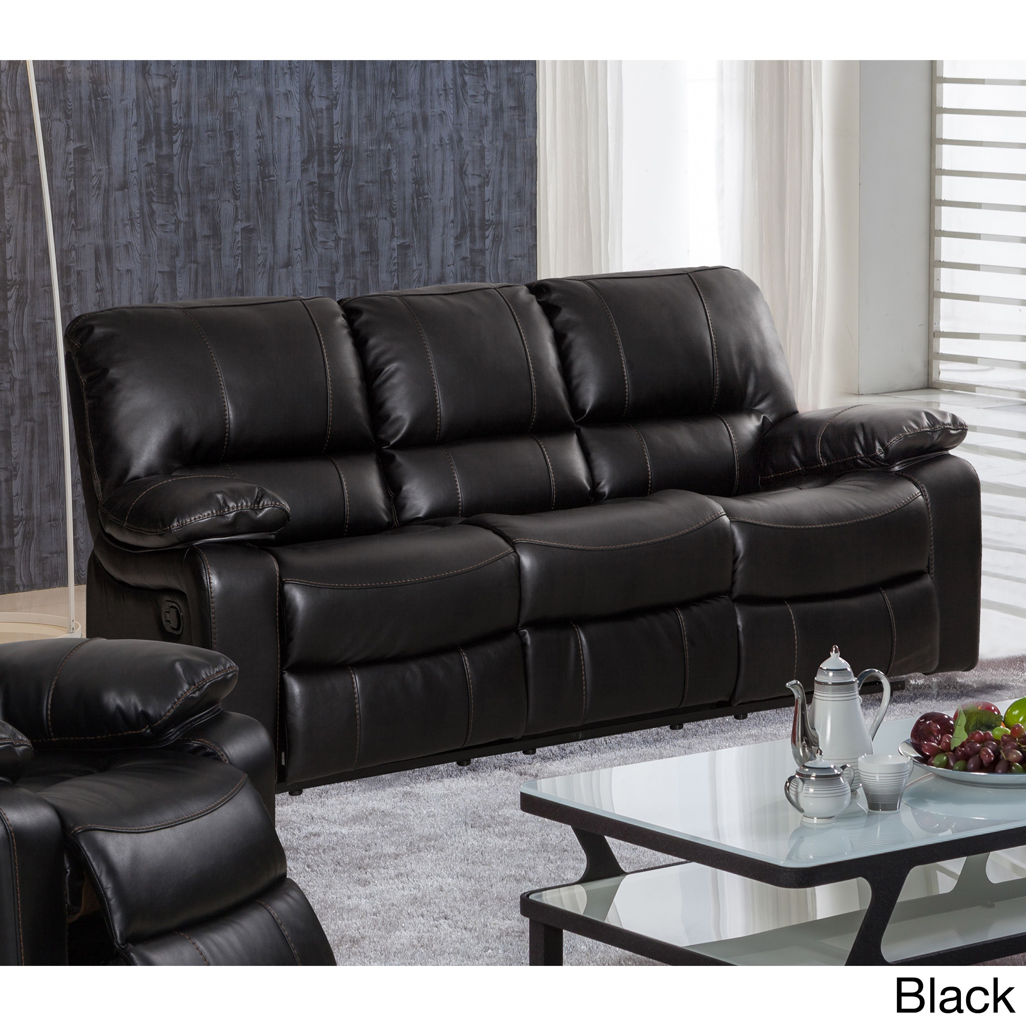 Samantha leather gel living room reclining sofa black brown synthetic leather