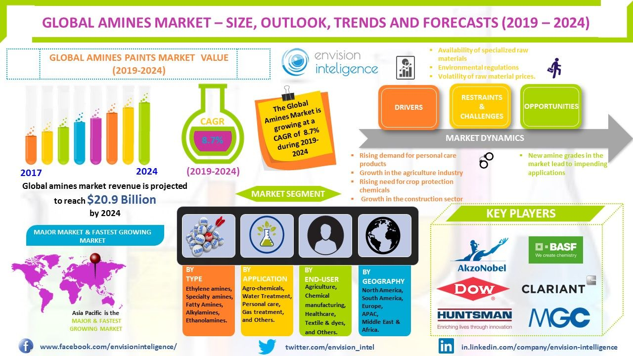 Global Amines Market Size Is Projected To Reach Approximately 20 9 Billion By The End Of 2024 With A Cagr Of Close To 8 7 From 14 Marketing Forecast Global
