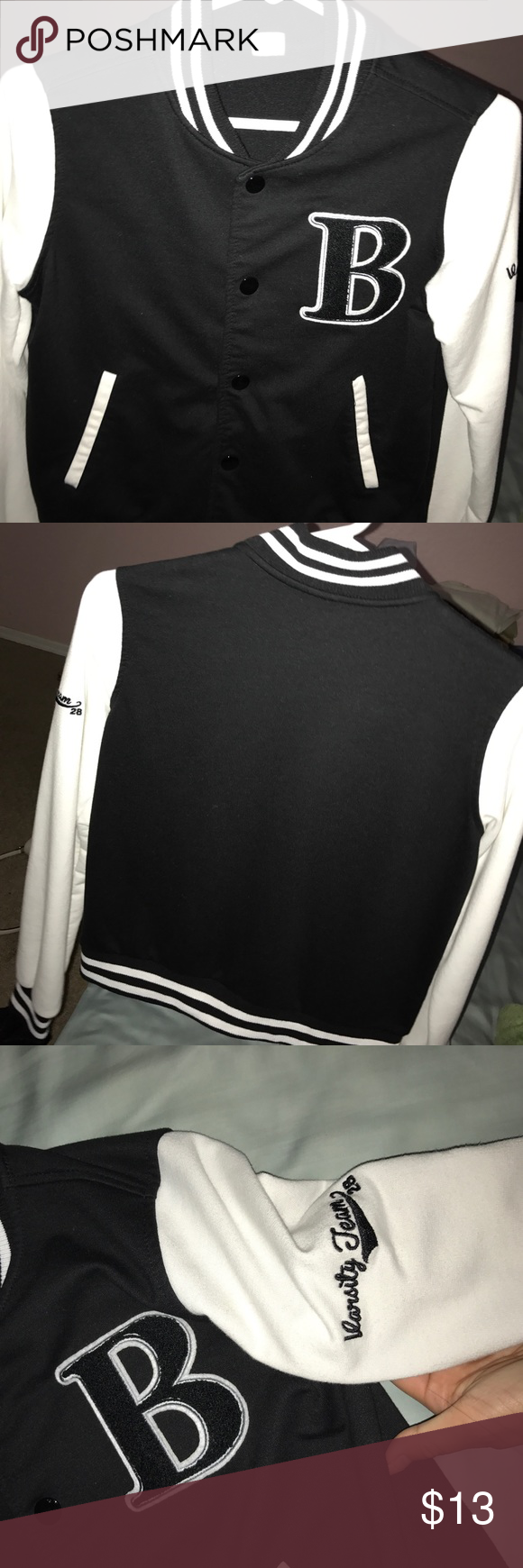 Black and White Varsity Jacket I actually bought this years ago in middle school but have never actually worn in. I bought it from Marshals. It's a size small. It would be perfect to wear for a super cute outfit or events such as character day or decades day! If you're in high and participate in spirit week this may help! It's comfy and keeps you pretty warm! Jackets & Coats #decadesdayspiritweek Black and White Varsity Jacket I actually bought this years ago in middle school but have never actu #characterdayspiritweek