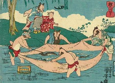 "One of my favorite artists from history, Utagawa Kuniyoshi, created these woodblock prints of tanuki, raccoon dogs, using their huge scrotum' in ""fun ways"". (These are dated in the mid 1840s.)"