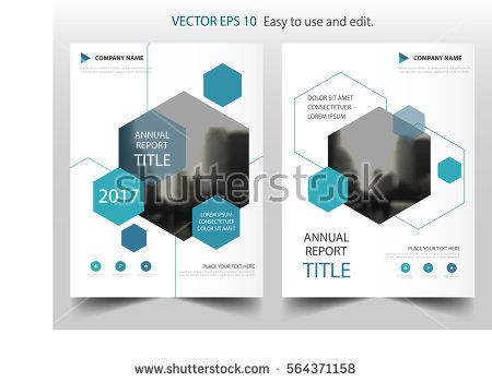Blue hexagon annual report Leaflet Brochure Flyer template design - annual report template design