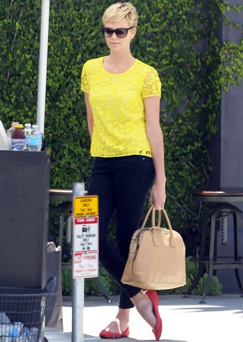 Charlize Theron - a pop of yellow