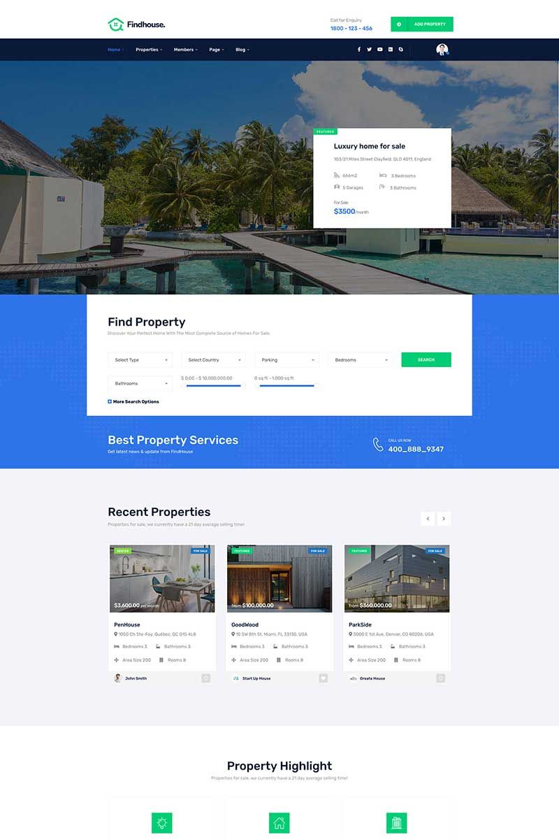 Findhouse - Real Estate WordPress Theme #85912