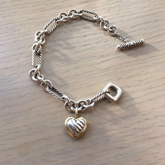 David Yurman Cable Heart Charm Bracelet With Gold Pre Owned Never Worn Like New Sterling Silver And 18 Karat Yellow 13 X 13mm
