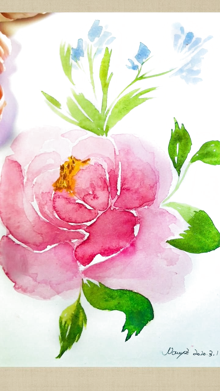 How To Draw Watercolor Peony Flowers Step By Step Simple Tutorial Watercolor Flowers Paintings Peony Painting Watercolor Flowers Tutorial