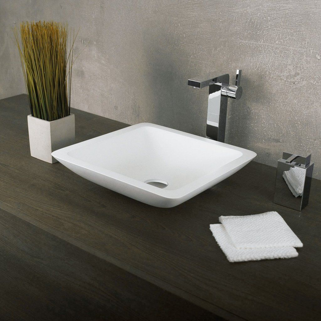 Dax Solid Surface Square Single Bowl Bathroom Vessel Sink White
