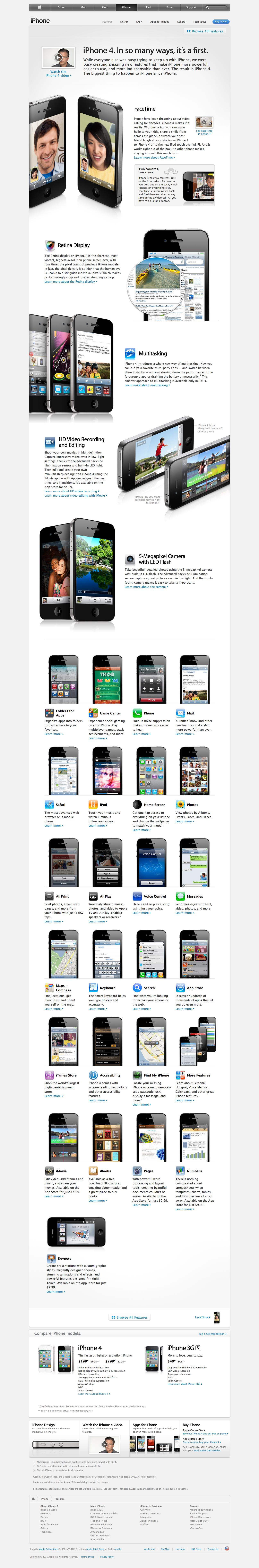 iPhone web page design for Apple