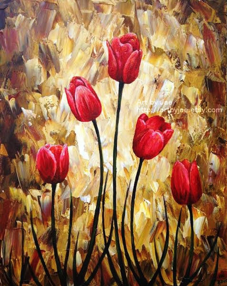Modern Painting Red Tulips Modern Realistic Painti
