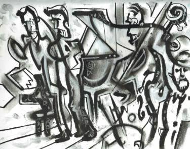"Saatchi Art Artist Lewis Achenbach founder Jazz Occurrence; Drawing, ""James Davis' Beveled at Chicago Jazz Fest 2015"" #art"