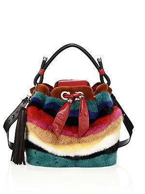 d0e734e63b8c Salvatore Ferragamo By Sara Battaglia Multicolor Striped Mink Fur Bucket Bag