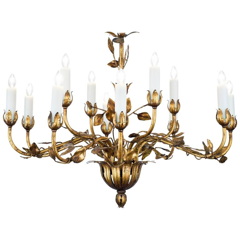French gold leaf tole chandelier chandeliers pendant lighting and french gold leaf tole chandelier mozeypictures Gallery
