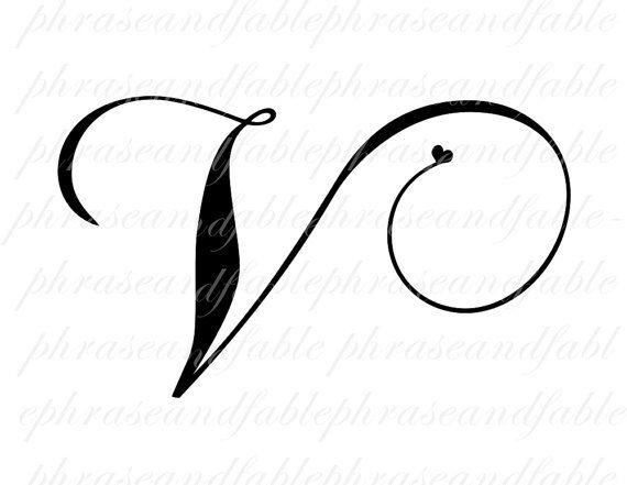Letter V Hearts 292 Digital Download Alphabet Initial Name