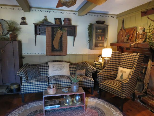 Earthy Comfy Casual Primitive Living Room Primitive Decorating Country Colonial Living Room