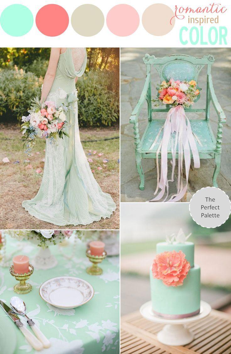 decoration mariage vert d'eau et peche