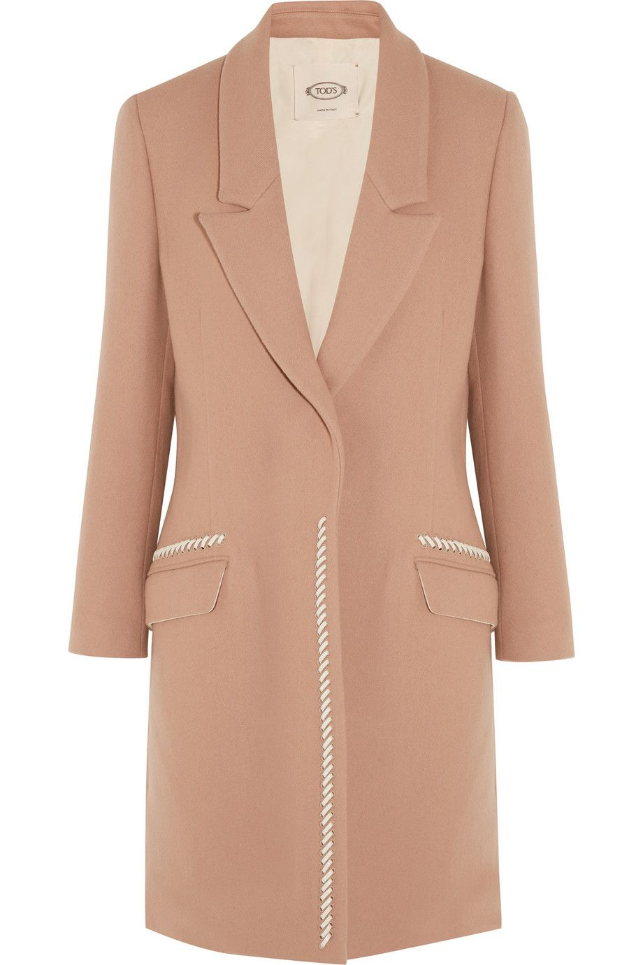 Tod's - Leather-trimmed wool and cashmere-blend coat