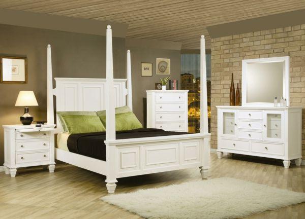 Vintage Schlafzimmer Set : Super schlafzimmer sets in weißer farbe ziegelwand und bettsäule