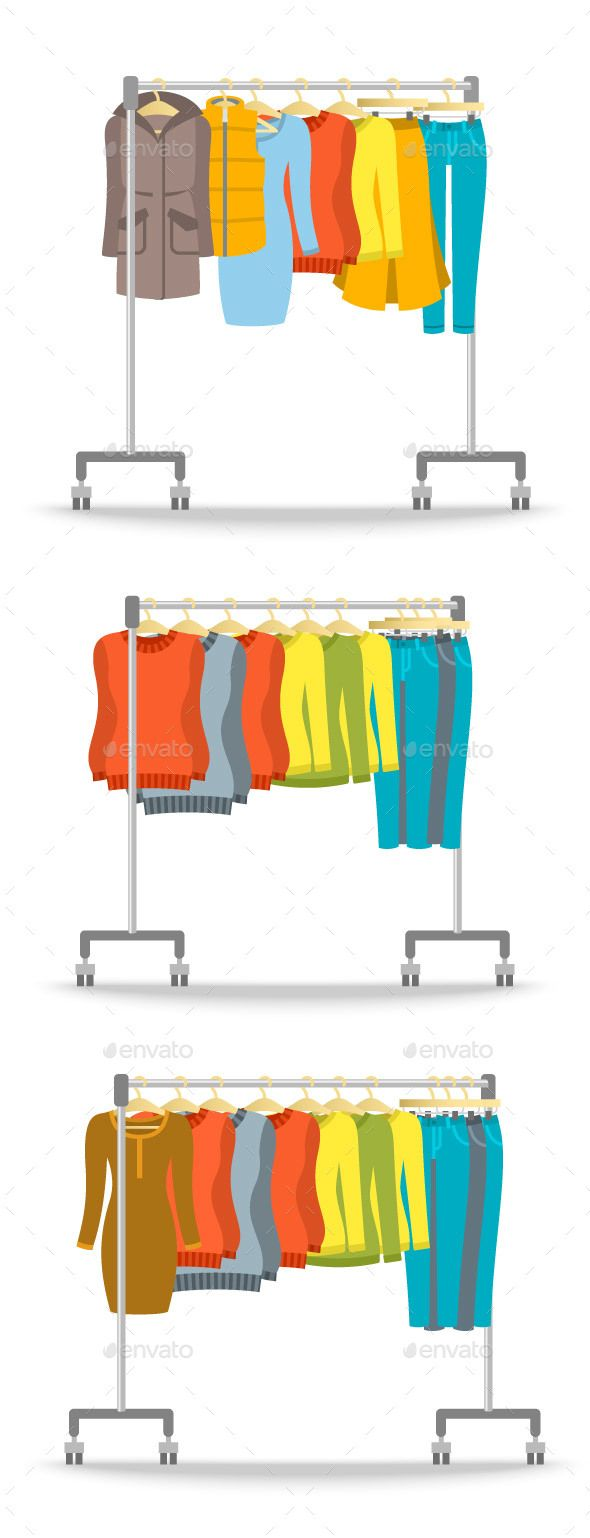 Hanger rack with warm winter women clothes cartoon flats and