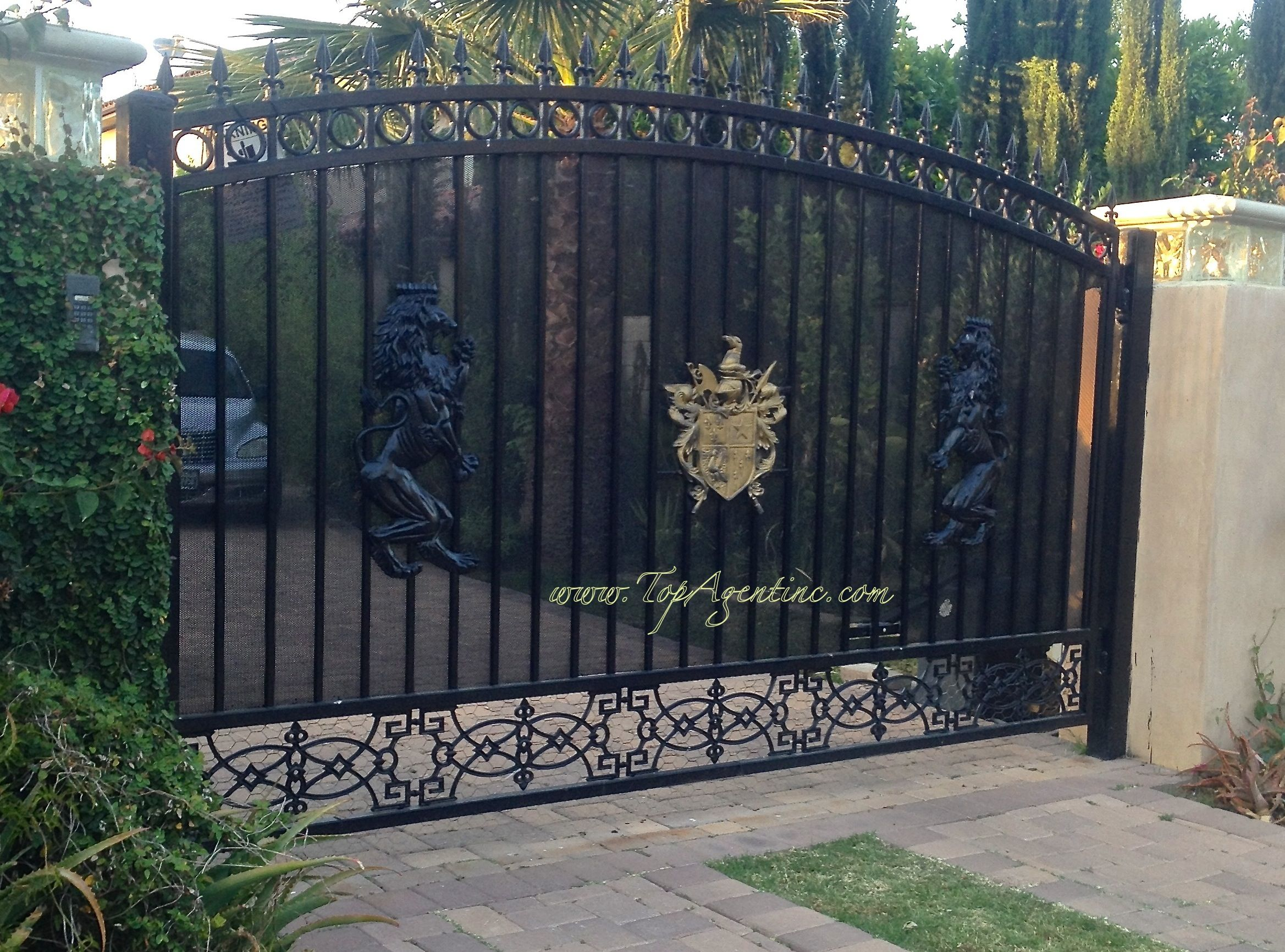 The Gold Crest Gate With Black Lion Medallions And Black Rod Iron Rod Iron Fences Iron Fence Rod Iron
