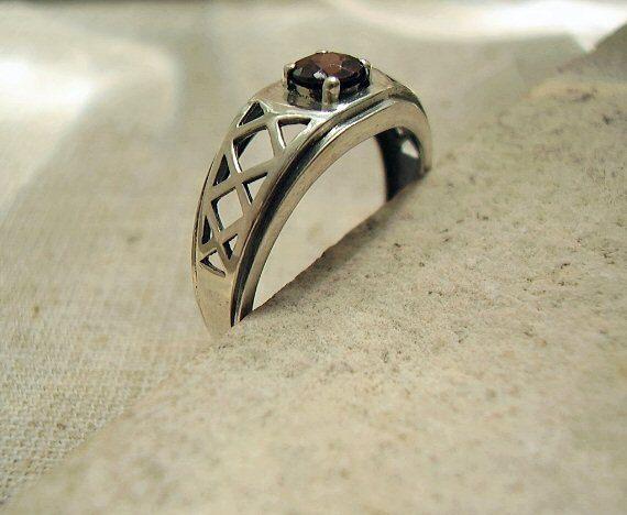 Harley Quinn Genuine Cambodian Zircon OOAK Mens Wedding Ring on