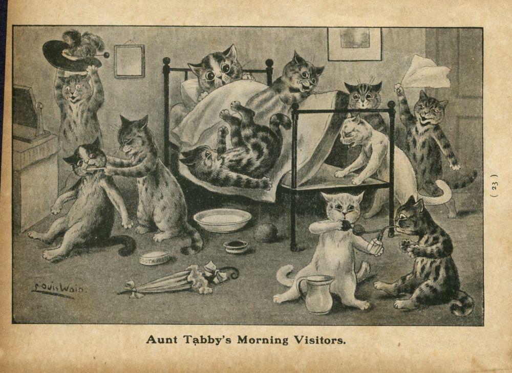 Louis Wain Gatos tia Tabby é de manhã visitantes Gatinhos Colchão Louis Wain Gato in Arte, De negociantes e revendedores, Gravuras/impressões | eBay