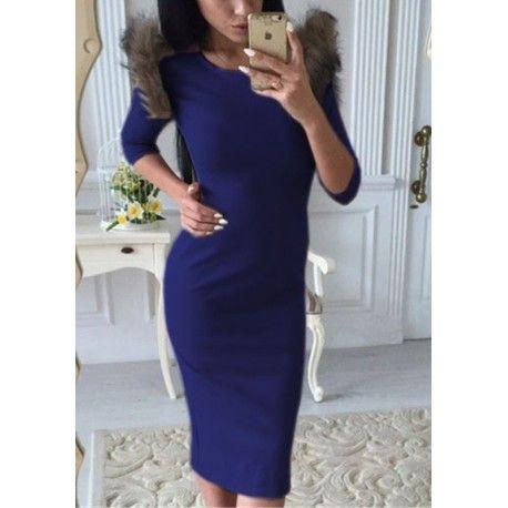 MalangFashion Blue Patchwork Fur Round Neck Fashion Midi Dress