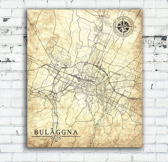 BOLOGNA Canvas Print Italy Vintage map Bologna City Italy Vintage