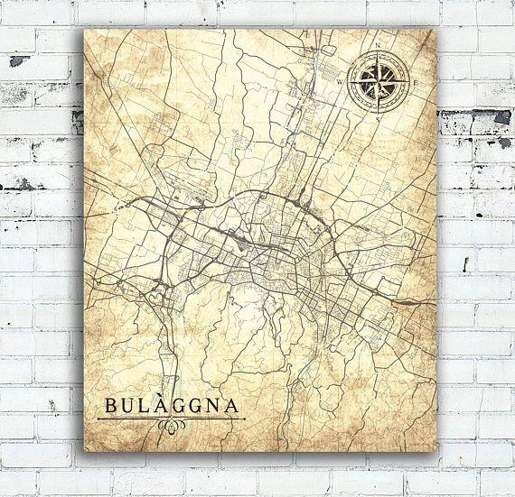 BOLOGNA Canvas Print Italy Vintage Map Bologna City Italy Vintage - Oversized vintage maps