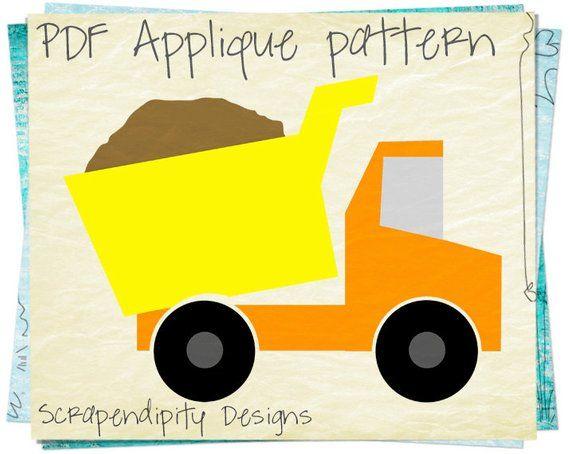 Cement truck applique pattern construction applique template etsy.