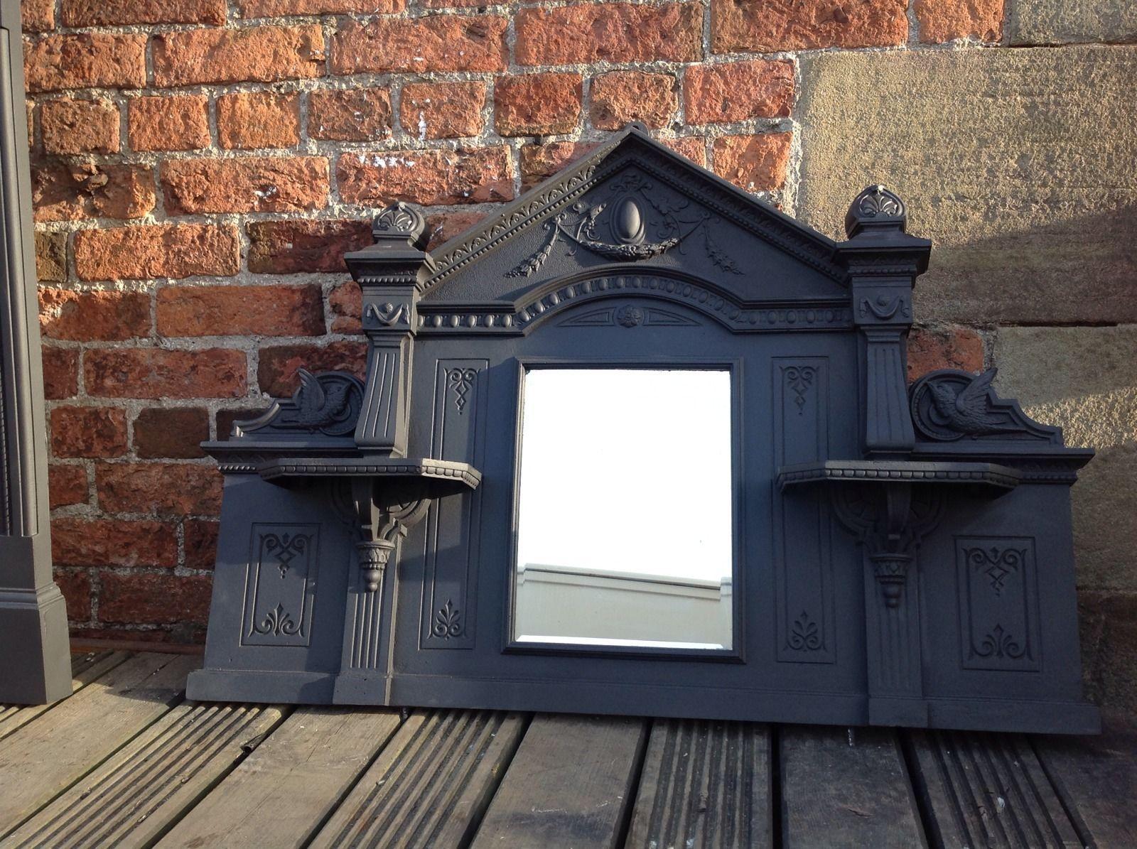 victorian fireplace cast iron surround u0026 overmantle mirror