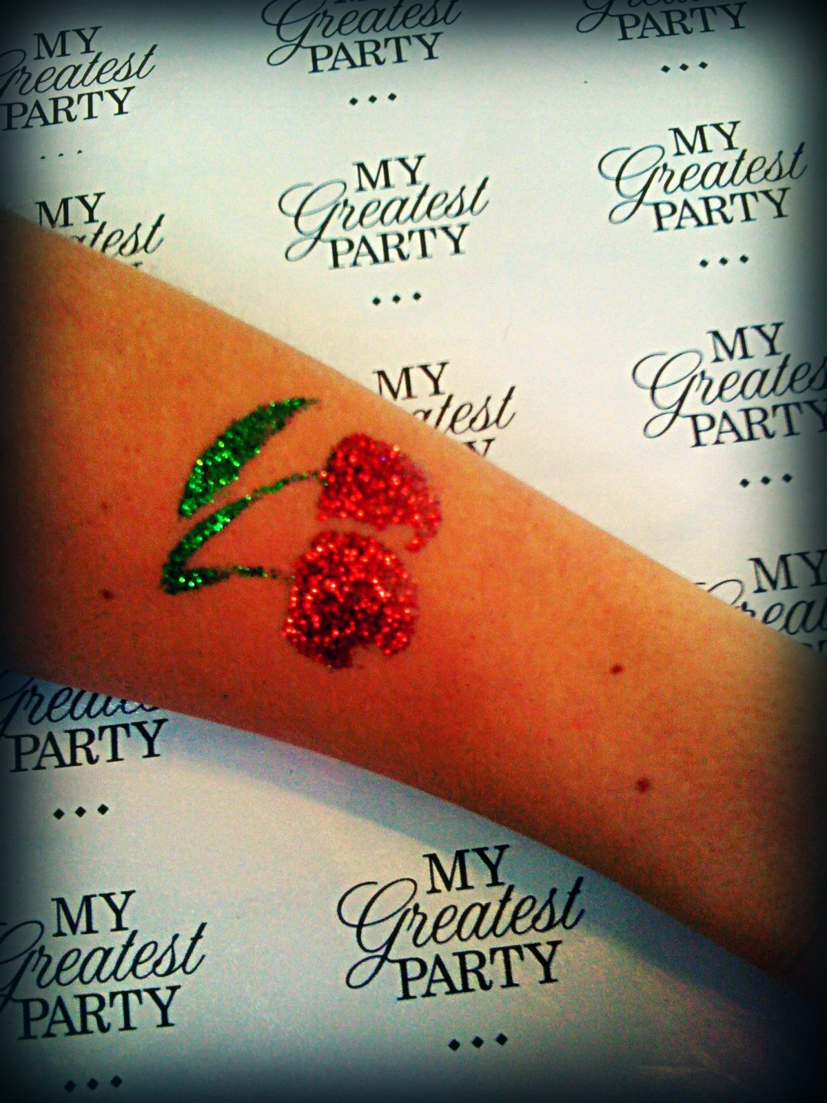 Cherry tattoo, glitter and glamour!   My Greatest Party