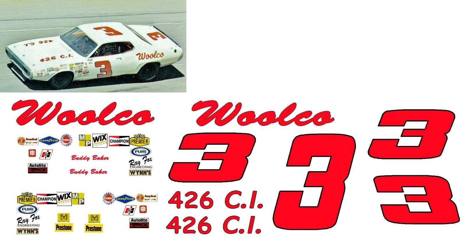 3 Buddy Baker Woolco Plymouth 1 16th Scale Decals Plymouth Buddy Toy Car