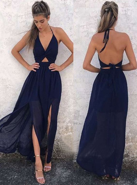 Charming A Line V Neck Backless Slit Chiffon Navy Long Prom Dresses ...