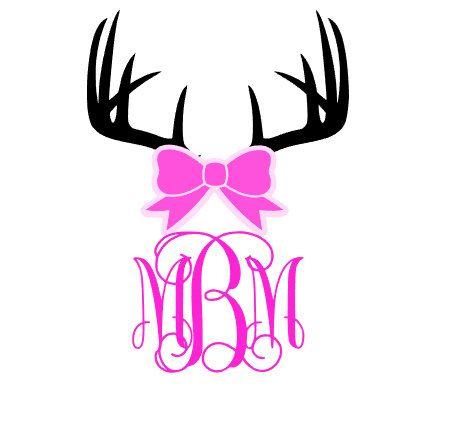 decal - antler with bow monogram