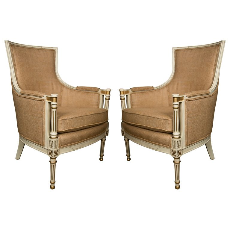 Pair Bergeres Chairs by Jansen | From a unique collection of antique and modern bergere chairs at http://www.1stdibs.com/furniture/seating/bergere-chairs/