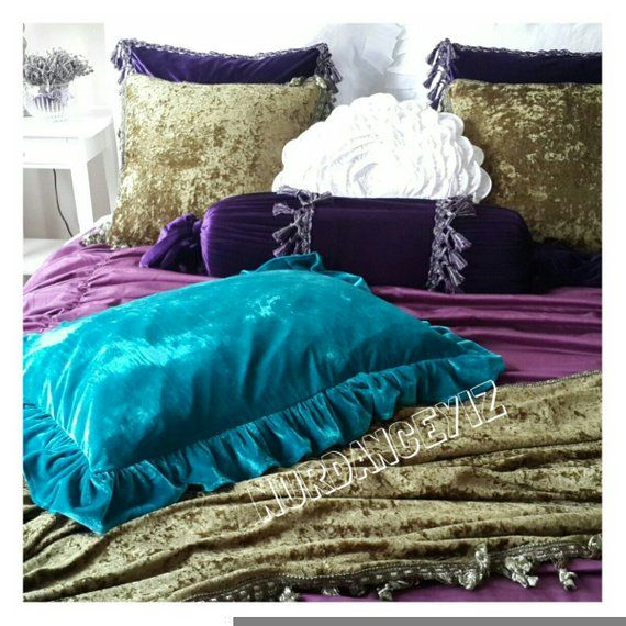 Velvet ruffled pillow, euro sham pillow Peacock teal blue copper- sofa couch pillow cover decorative pillow luxury bedding decor Nurdanceyiz