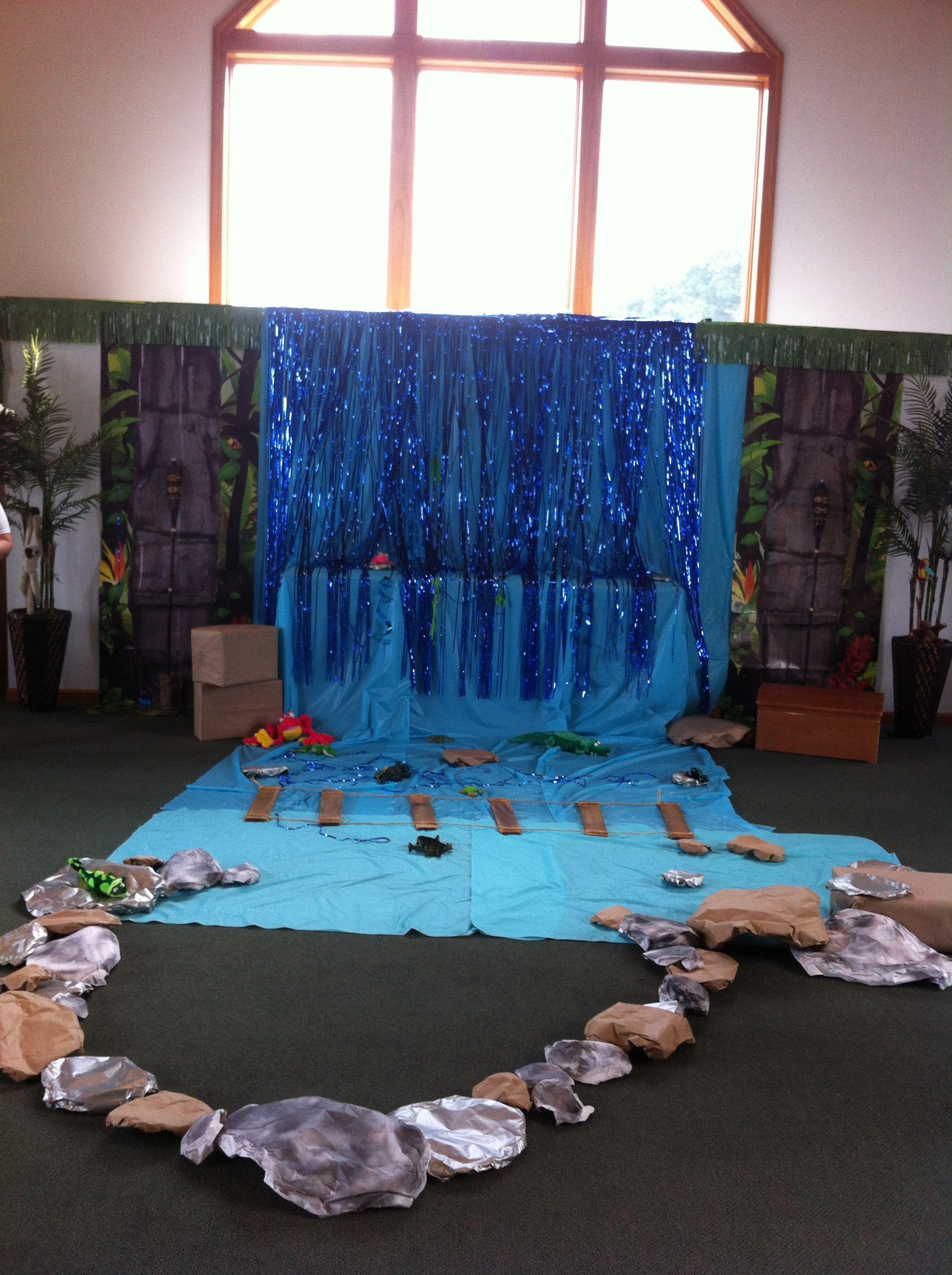 Classroom Waterfall Ideas ~ Waterfall dramatic play jungle classroom ideas