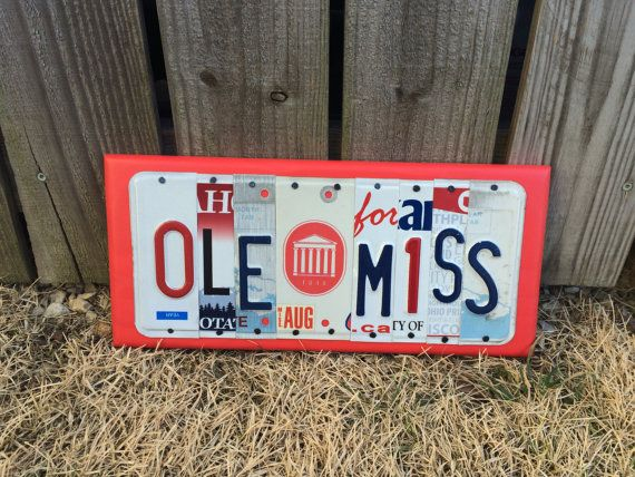 OLE MISS sign made from recycled license plates by platesigns8