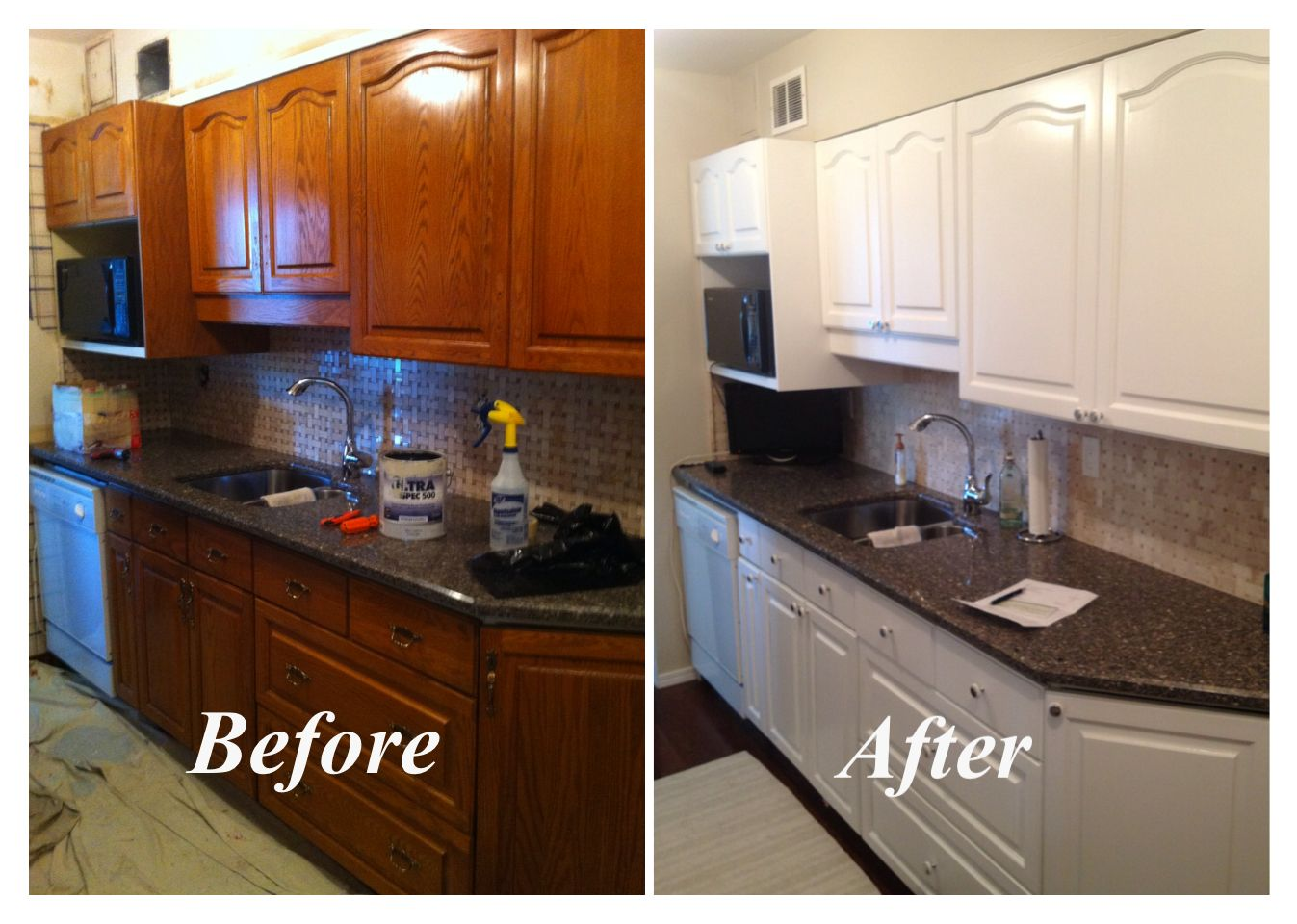 Oak Cabinets Repainted With White Lacquer In 2019