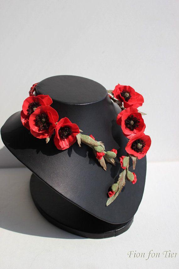 Déclaration rouge fleur collier Midi Wrap collier rouge pavot fleurs Rustic…