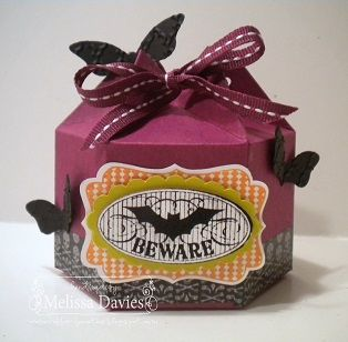 Wednesday, September 18, 2013  Big Shot - Big Ideas! | 6-sided treat box made with the Sizzix Mini Milk Carton Bigz L and the Halloween Bash stamp set. Did you catch those little bats  made from the Elegant Butterfly punch?!