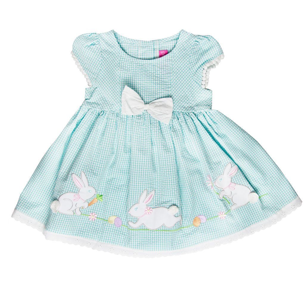 Newborn/Infant Girls Turquoise Seersucker Dress with Bunny
